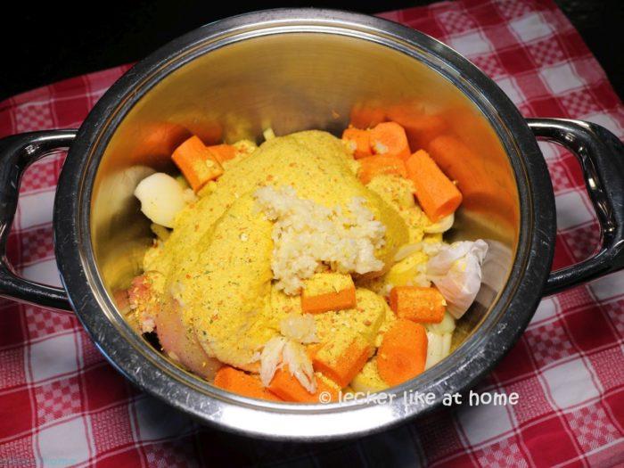 Hühnersuppe - vorbereitet