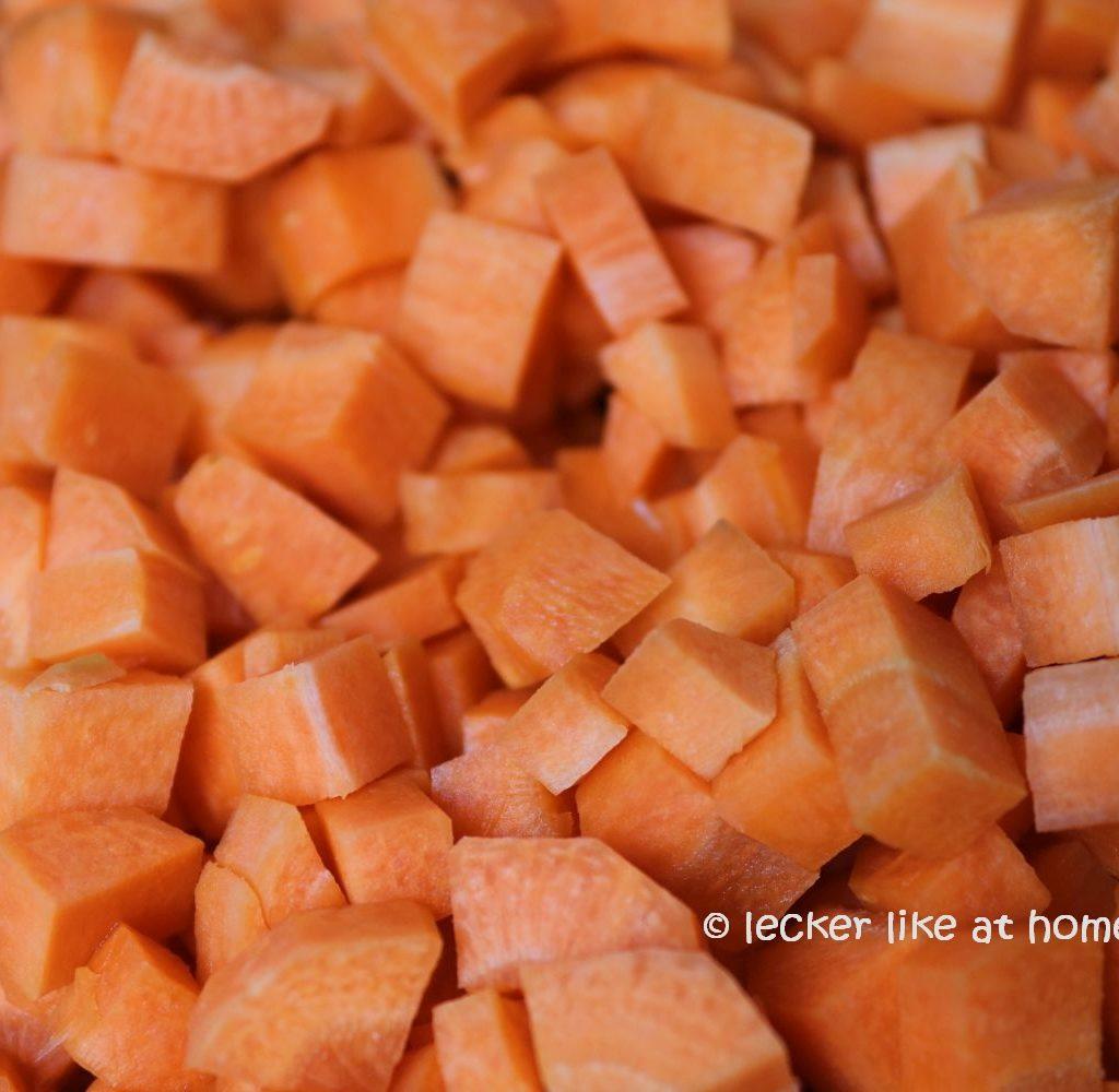 gewürfelte Karotten