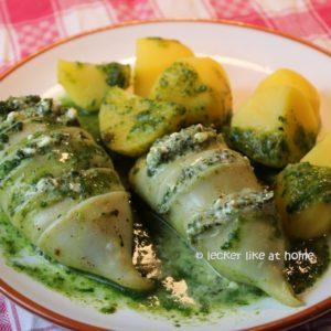 Tintenfisch mit Feta Spinat Füllung
